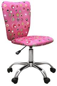 Scaun de birou pentru copii Pink Bubbles, cadru cromat, textil, roz cu model