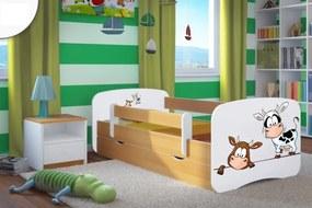 Pat pentru copii Ourbaby cu sina de siguranță - Vacute - Fag pat fără spațiu de depozitare 180x80 cm
