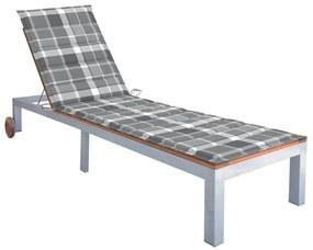3061556 vidaXL Șezlong cu pernă, lemn masiv de acacia și oțel galvanizat