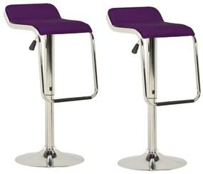 323374 vidaXL Scaune de bar, 2 buc., violet, material textil & lemn curbat
