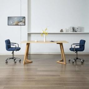 283639 vidaXL Scaune de masă pivotante, 2 buc., albastru, textil