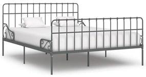 284621 vidaXL Cadru de pat cu bază din șipci, gri, 200 x 200 cm, metal