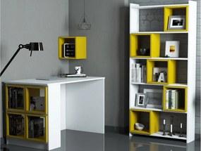 Birou, etajera si biblioteca din PAL melaminat Acantara Alb/Yellow