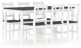 283376 vidaXL Set mobilier de bucătărie, 7 piese, alb și gri, lemn de pin