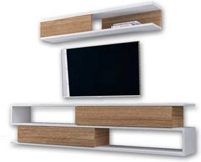 Set comodă TV și raft de perete cu aspect de lemn de nuc Furny Home Manyetik, alb