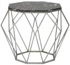 Masa de cafea din metal Diamond Marble Negru, Ø68xH52 cm