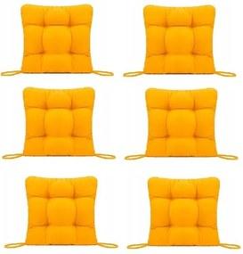 Set Perne decorative pentru scaun de bucatarie sau terasa, dimensiuni 40x40cm, culoare Galben, 6 bucati/set