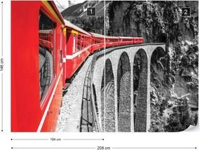 Fototapet GLIX - Red Train In The Mountains + adeziv GRATUIT Tapet nețesute - 254x184 cm