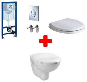 Set PROMO vas wc cu capac Rak Ceramics Karla si rezervor incastrat Grohe clapeta crom 38721001-KAWC00003-KASC00002