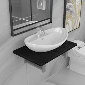 279337 vidaXL Set mobilier de baie, 2 piese, negru, ceramică