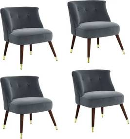 Set de 4 scaune tip fotoliu Maddox catifea/lemn, gri, 73 x 62 x 65 cm