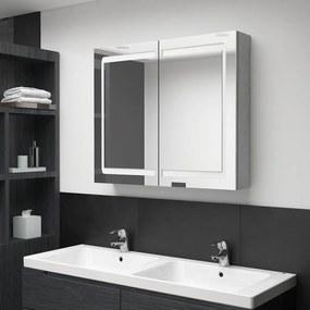 326511 vidaXL Dulap de baie cu oglindă și LED, gri, 80x12x68 cm