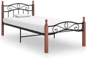 324905 vidaXL Cadru de pat, negru, 100x200 cm, metal și lemn masiv stejar