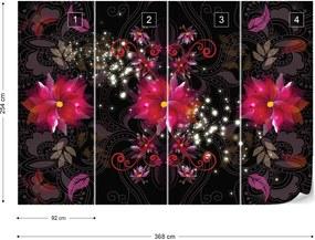 Fototapet GLIX - Red Floral  + adeziv GRATUIT Papírová tapeta  - 254x184 cm