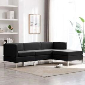 3052745 vidaXL Set de canapele, 4 piese, negru, material textil