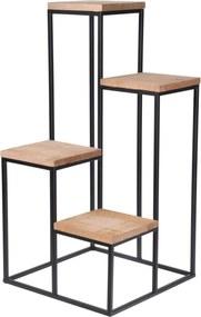 Stand pentru plante metalic cu spațiu pentru 4 ghivece, 67 cm, negru, cu blat din lemn