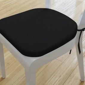 Goldea pernă pentru scaun rotundă decorativă 39x37cm - loneta - negru 39 x 37 cm