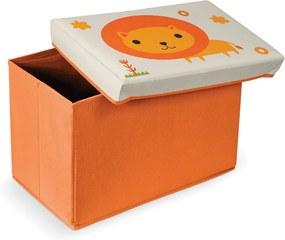 Taburet cu spațiu pentru depozitare Domopak Lion, portocaliu