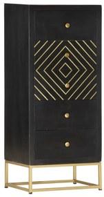 286513 vidaXL Dulap cu sertare, negru/auriu, 45 x 30 x 105 cm, lemn de mango