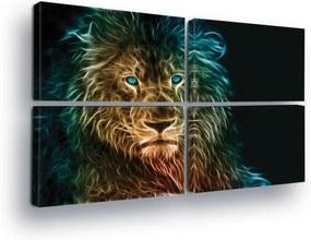 GLIX Tablou - Luminous Lion III 4 x 60x40 cm