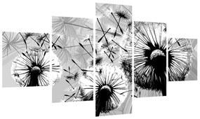 Tablou modern cu păpădii alb negre (125x70 cm), în 40 de alte dimensiuni noi