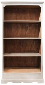 Biblioteca Arturo din lemn alb cu maro 88x34x188 cm