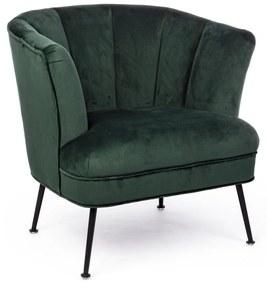Fotoliu cu tapiterie din velur verde si picioare fier negru Odilon 80 cm x 71 cm x 76 h