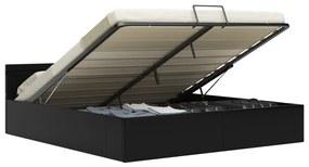 285545 vidaXL Cadru de pat hidraulic cu ladă LED negru 180 x 200 cm piele eco
