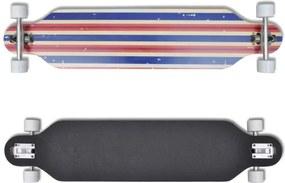 Longboard 107 cm straturi din lemn de arțar, ax skateboard Albastru