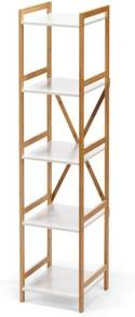 Etajeră îngustă cu 4 nivele, cu structură din bambus loomi.design Lora, alb