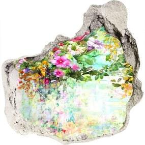 Fototapet 3D gaură în perete Flori multi-colorate