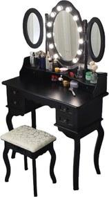 Set Josefina, Masă de toaletă cu 3 oglinzi, iluminare LED, control touch, 6 sertare, scaun, Negru