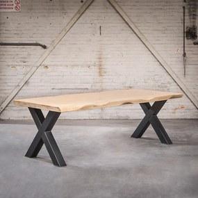Masă industrială dreptunghiulară de 250x105x6 stejar transparent cu picioare X de oțel - Ciocănitor