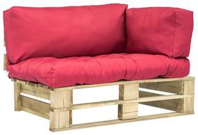 275292 vidaXL Canapea de grădină din paleți cu perne roșii, lemn de pin
