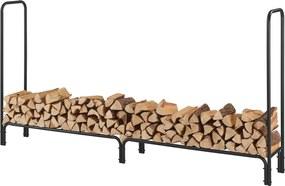 [en.casa]® Suport lemne pentru foc, 240 x 123 x 35 cm, 400 kg, otel, negru