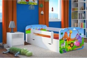 copii pat cu barieră Ourbaby - safari - alb 180x80 cm pat + spațiu de depozitare