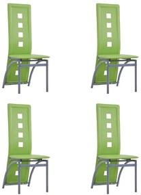 281718 vidaXL Scaune de bucătărie, 4 buc., verde, piele ecologică