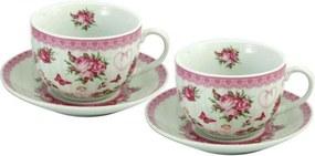 Set cadou căni de cafea, cu farfurioară, Trandafir, 250 ml, 2 buc.