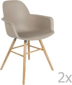 Set 2 scaune cu cotiere Zuiver Albert Kuip, gri maro