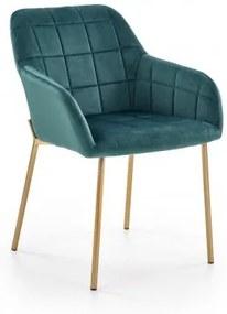 Scaun tapitat cu stofa, cu picioare metalice K306 Velvet Verde inchis / Auriu, l58xA57xH80 cm