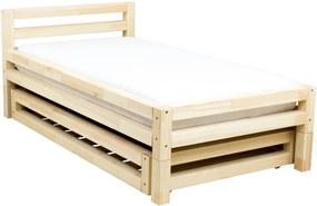 Pat din lemn lăcuit de molid pentru o persoană Benlemi Single, 90 x 180 cm