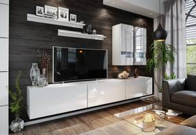 Expedo Mobilă sufragerie ELPASO 1 + LED, alb/alb luciu