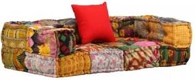 Canapea modulară cu 2 locuri, brațe, material textil, patchwork