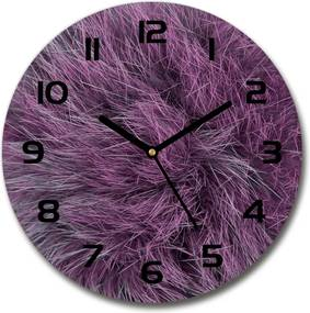 Ceas din sticlă rotund Blană roz
