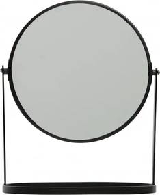 Oglinda rotunda cu rama din fier neagra Yentl, 32x25x14 cm
