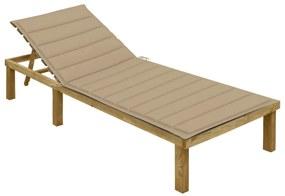 3065822 vidaXL Șezlong cu pernă bej, lemn de pin tratat