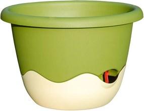 Ghiveci de agățat cu sistem de auto-irigare Plastia Mareta, lungime 30, verde-alb