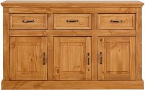 Comodă din lemn de pin cu 3 uși și 3 sertare Støraa Suzie, maro