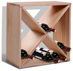 HOMCOM Suport pentru Sticle de Vin si Lichioruri 24 de Sticle Lemn Natural
