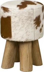 Taburet cilindric din piele de vaca Cowhide maro/alb